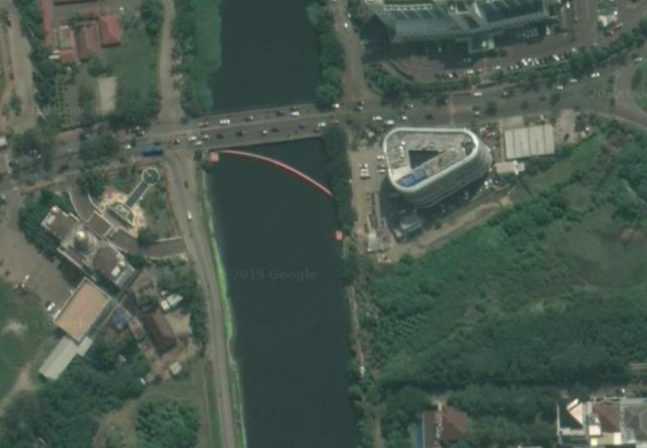 Satellite view of a basic waste capture system 800 m upstream of the Interceptor 001