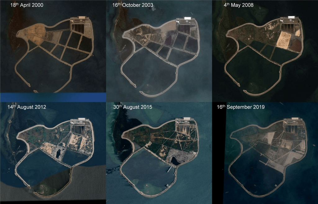 Historical satellite views of Semakau Landfill since the start of operations (Source: Google Earth)