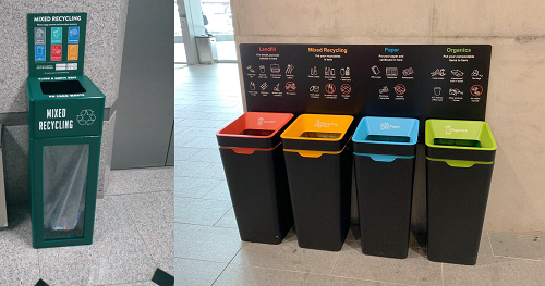 Mixed-recycling bin in an office tower in Singapore (left) and waste station in Australia (right)