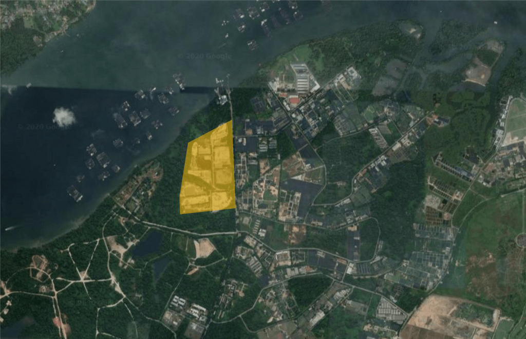 Satellite view of the area with the approximate location of the former Lim Chu Kang Dumping Ground (source Google Maps)