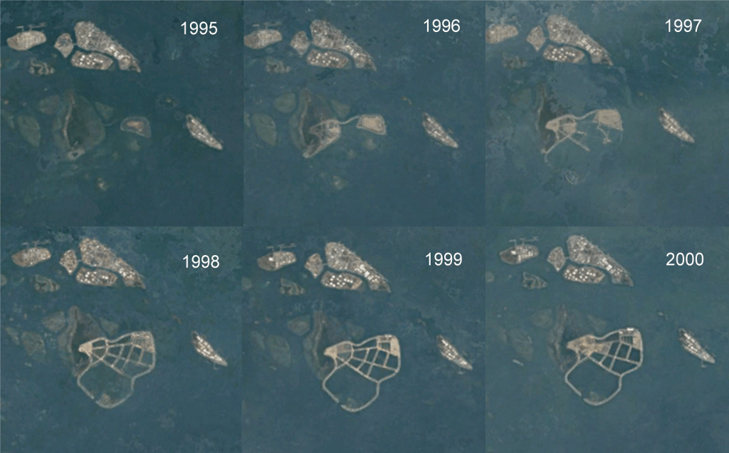 Historical satellite views of Semakau Landfill during the construction phase taken in December of each year (Source: Google Earth)