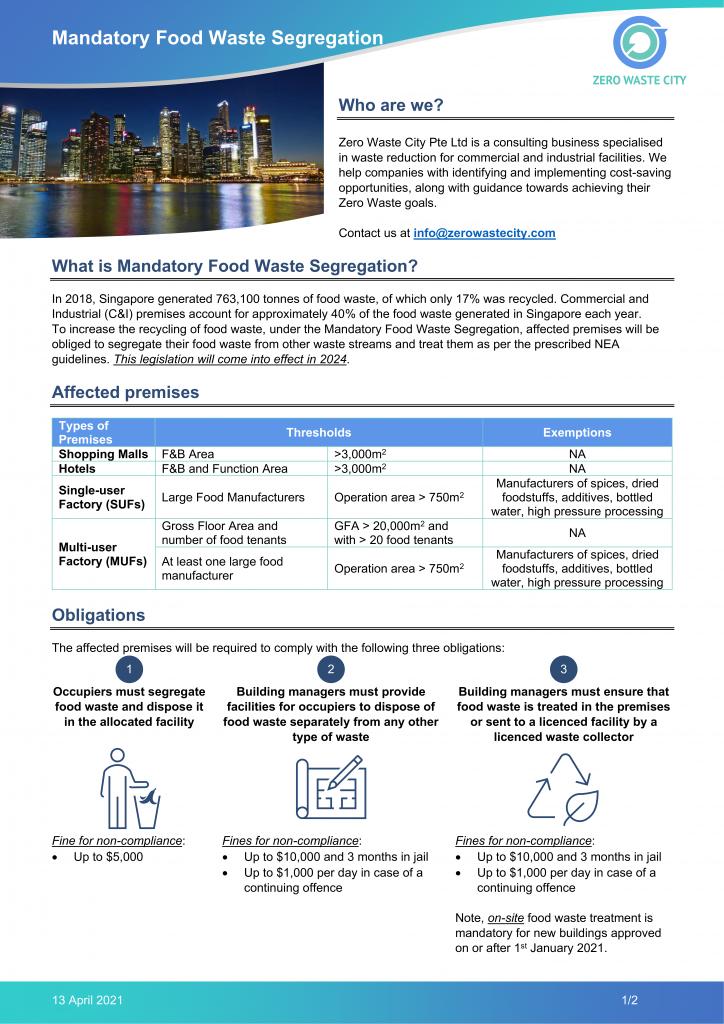 Mandatory Food Waste Segregation Factsheet